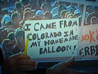 """I came from Colorado in my homemade balloon!"""