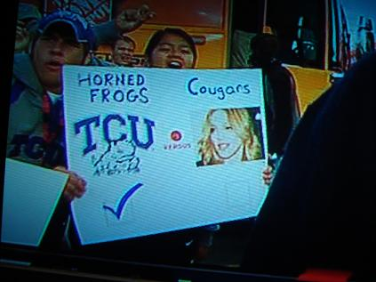 Horned Frogs vs. Cougars (is that Madonna?)
