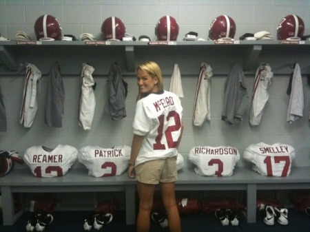 Jenn in the Alabama locker room