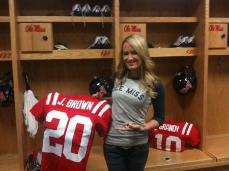 Jenn in the Ole Miss locker room