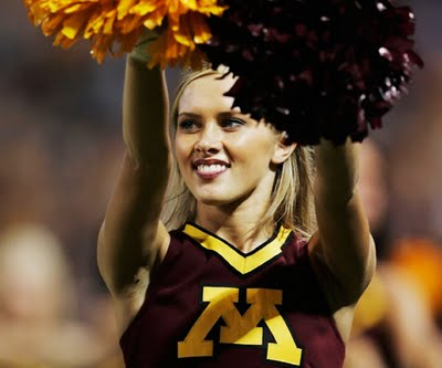 This Minnesota cheerleader took the place of this week's Penn State cheerleader.  Shame on you Penn State.