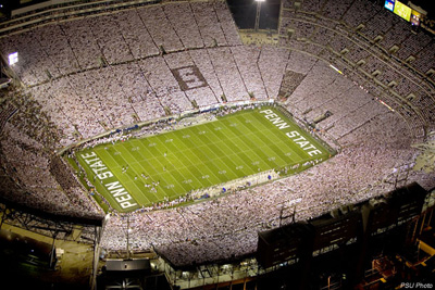"Another view of a Penn State whiteout.  Notice the ""S"""
